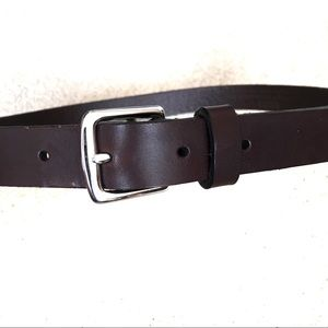 Coach Brown Leather Belt Silver Brass Hardware-S